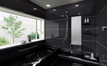 濃い色・黒い色のお風呂の壁