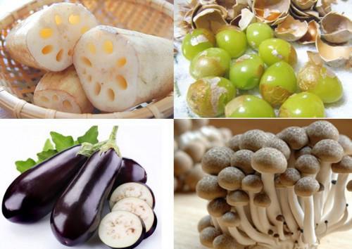 旬の秋野菜のてんぷら 茄子、レンコン、かぼちゃ、きのこなど
